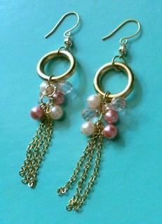 Free Shipping-Gold Plated Crystal+Pearl Tassel Earring
