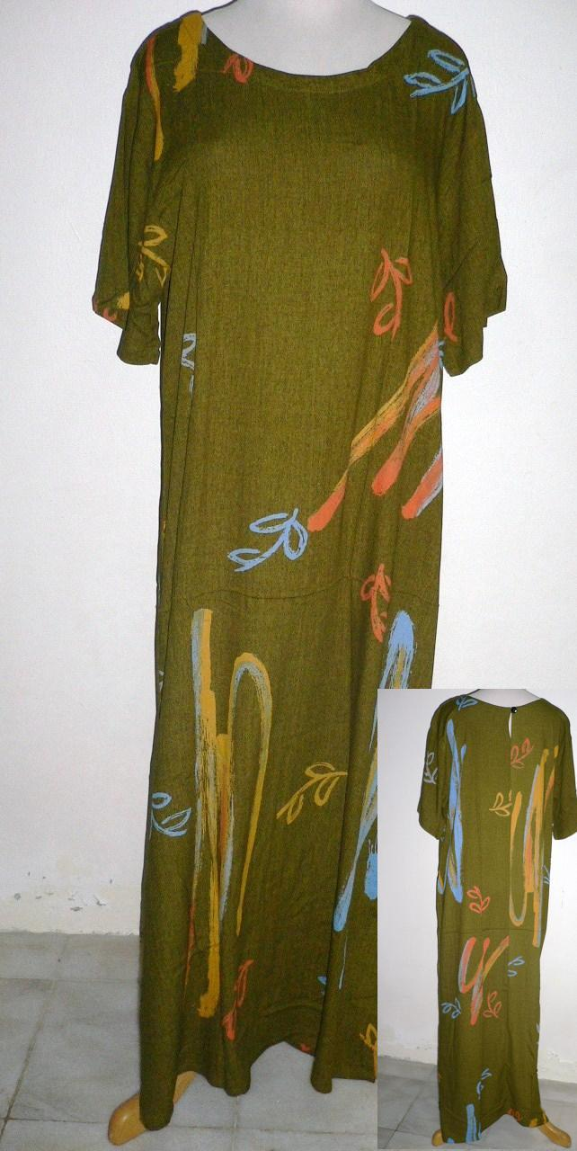 Free Shipping-SEASON' Kringle Batik Lady Dress/Short Sleeves -Green