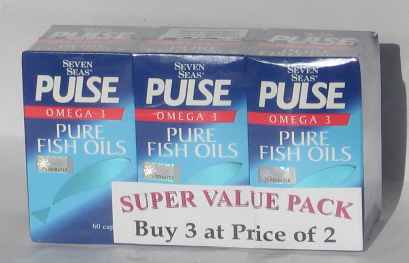 FREE SHIPPING! Seven Seas Pulse Omega 3 Pure Fish Oils 3 X 60's