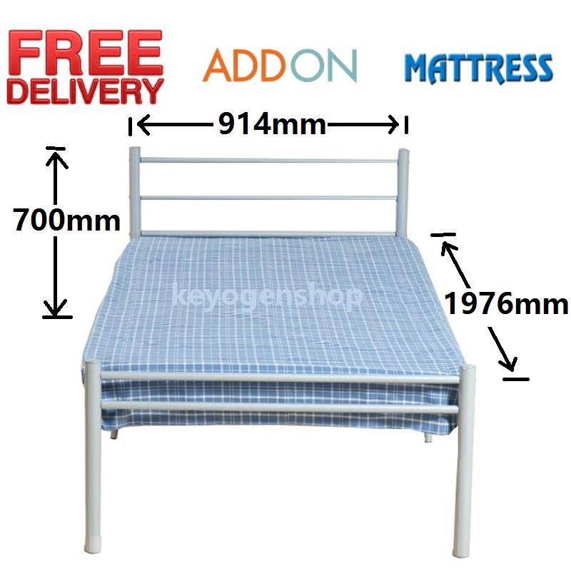Free Shipping Single Steel Metal Bed ( silver )- Add on Mattress