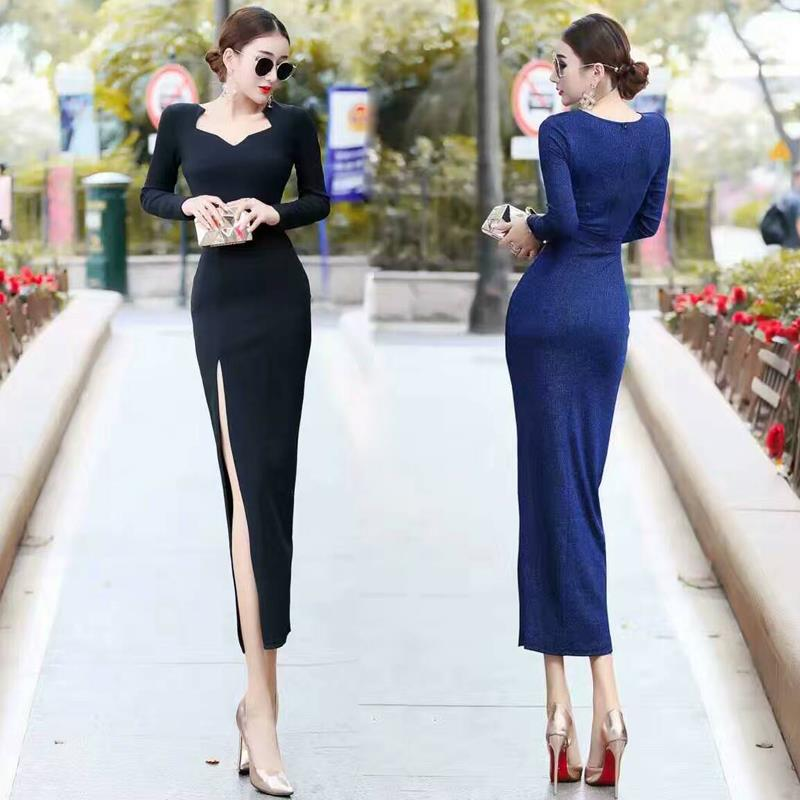 FREE SIZE ~ Deep V Long Sleeve Ladies Split Luxury Long Dress