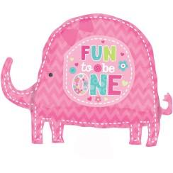 FREESHIPPING WILD AT ONE ELEPHANT GIRL'S 1ST BIRTHDAY BIG FOIL BALLOON