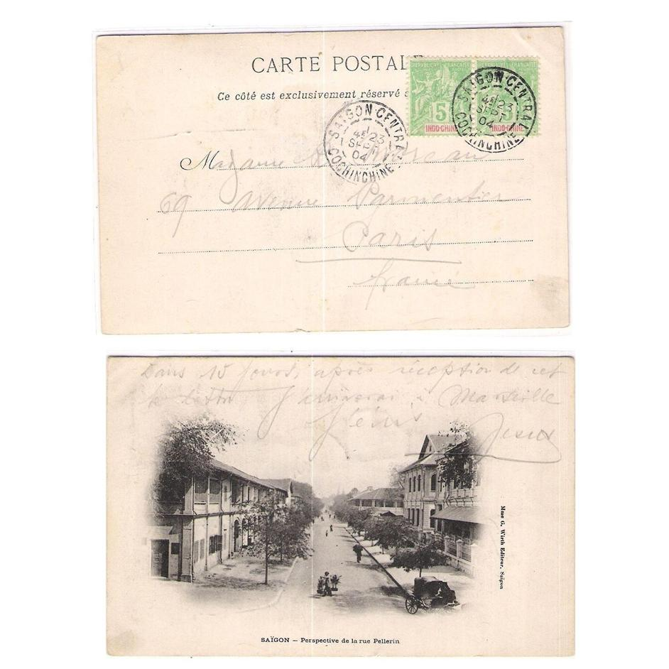 French Indochina 1904 Saigon Rue Pellerin postcard to France