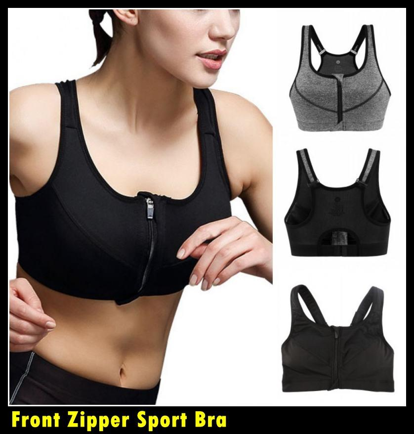 Front Zipper Sport Bra Running GYM Yoga Fitness Tank Top