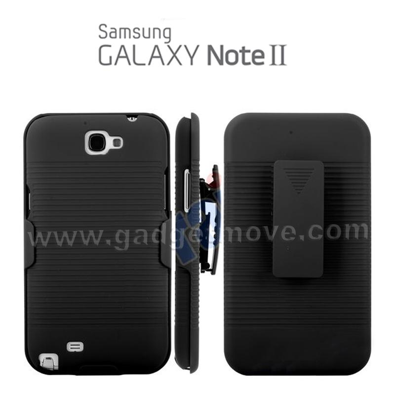 Frosted Hard Stand Case SAMSUNG Galaxy Note 2 Belt Clip Case Cover TPU