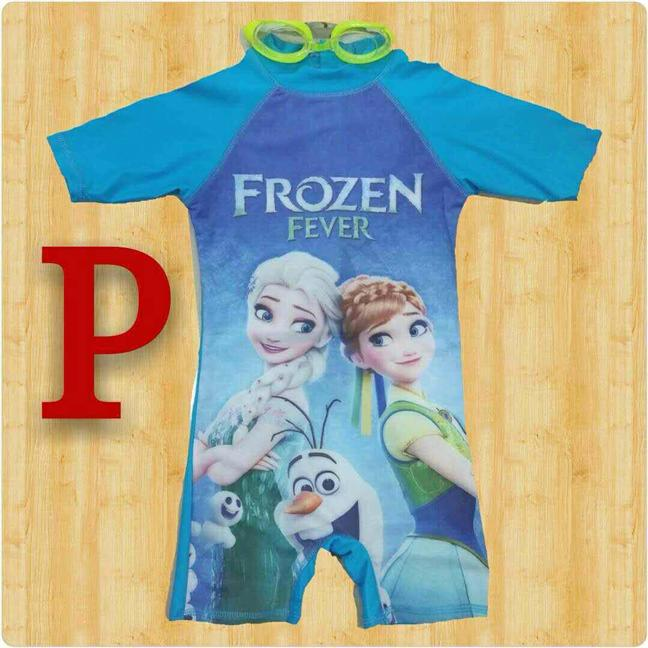 FROZEN FEVER (BLUE) SWIMMING SUIT WITH FREE SWIMMING GLASSES