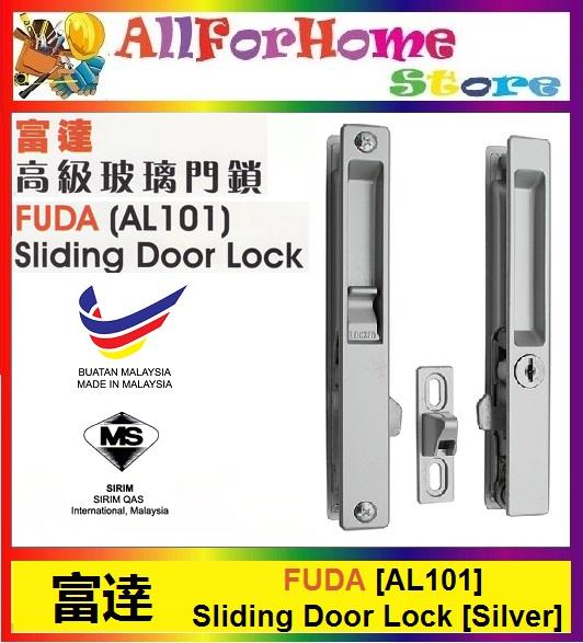 FUDA AL101 Glass Sliding Door Lock - Silver