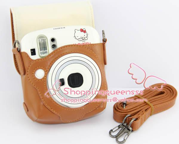 Fujifilm Instax Mini 25 Blue Camera Leather Bag Shoulder (Chocolate)