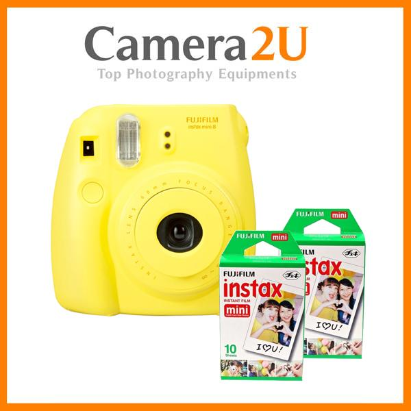 New Fujifilm Instax Mini 8 Instant Camera (Yellow) + Mini Film 2 Pack