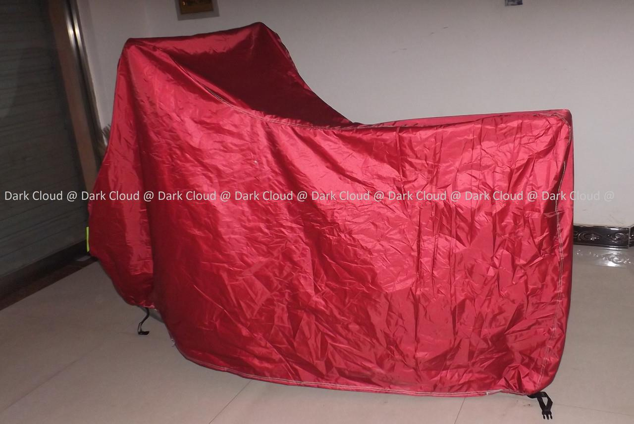 [FULL DARK RED]MOTORCYCLE RAIN UV COVER BELT LOCK/ BAG MOTORBIKE COVER