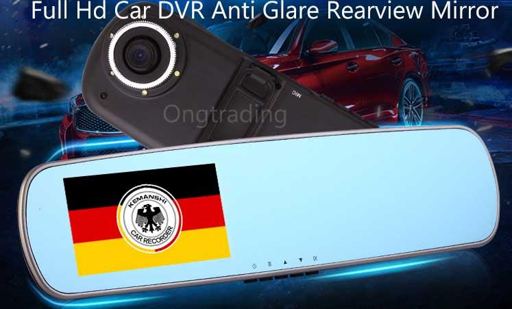 Full HD 1080 Car DVR Anti Glare Rearview Mirror Digital Video Camera