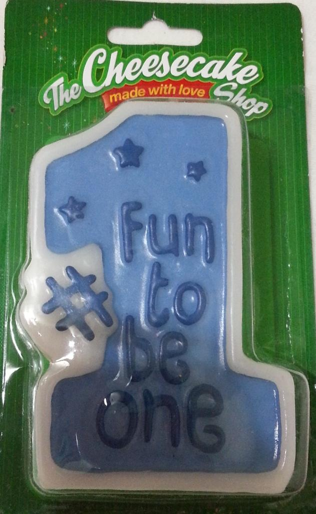 Fun to be No. 1 Birthday Candle Blue- FBNC01