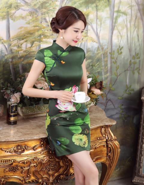 **Fundeal**Glamourous Dark Green Lotus Qipao Q01275 ~ S, M, XL, XXL