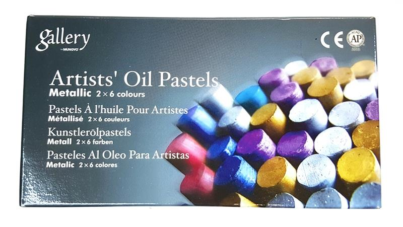 Gallery Artists' Oil Pastels Metallic Fluorescent 12s
