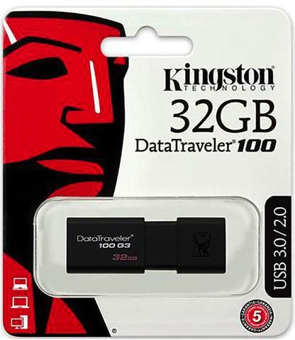 GDT. KINGSTON FLASH DRIVE USB3.0 DT 100 G3 32GB DT100G3/32GBFR BLACK