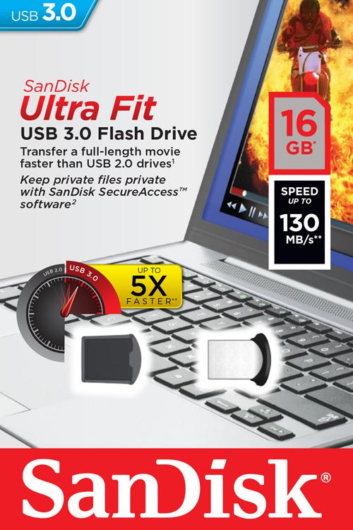 GDT. SANDISK FLASH DRIVE USB3 CRUZER 43 ULTRA FIT 16GB SDCZ43-016G-U46