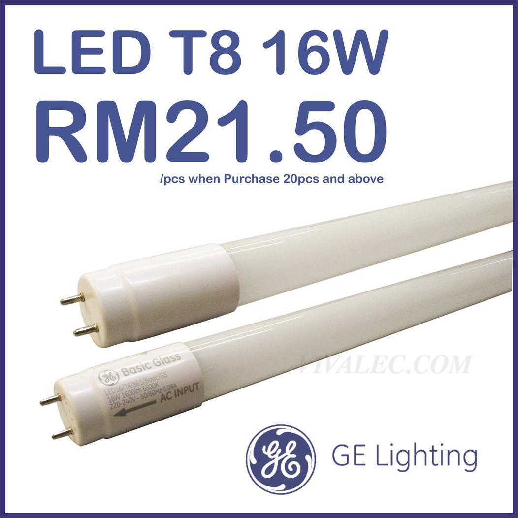 GE T8 LED Tube 16W Basic Glass Daylight