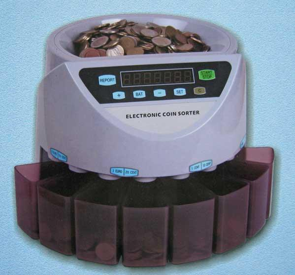 GENIUS MONEY COIN COUNTER MACHINE  + 5 YEARS WARRANTY