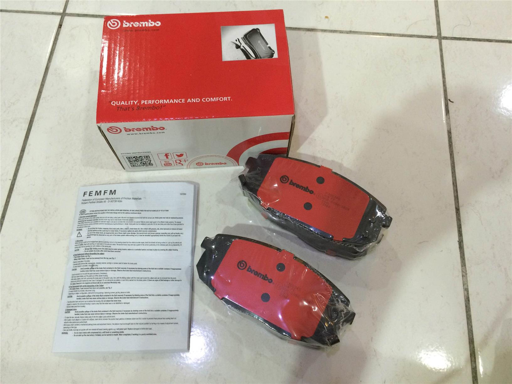 GENUINE BREMBO FRONT BRAKE PAD for KIA FORTE 1.6/2.0/ NAZA CITRA