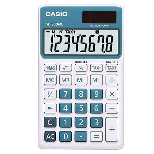 Genuine Casio Portable Calculator SL-300NC-BU Blue 2 Way Power 8Digit