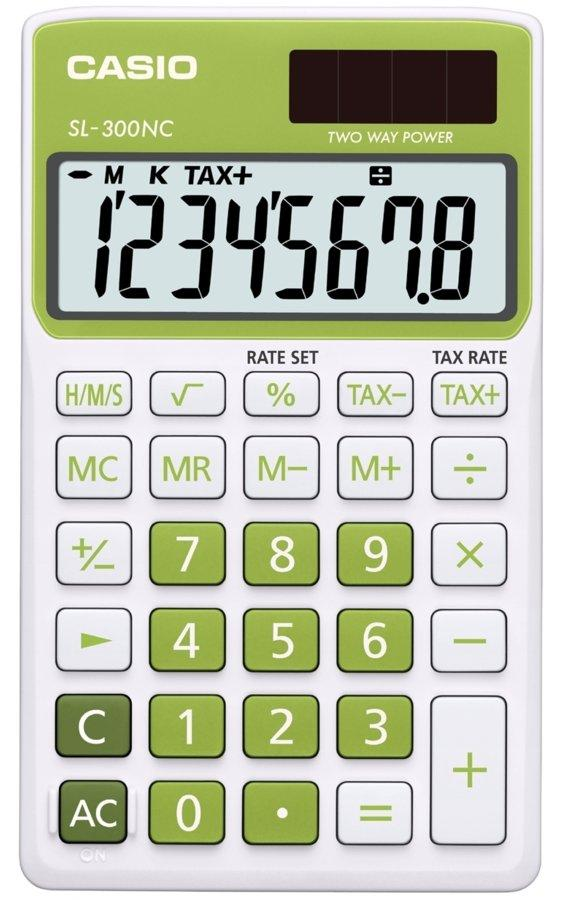 Genuine Casio Portable Calculator SL-300NC-GN Green 2 Way Power 8Digit