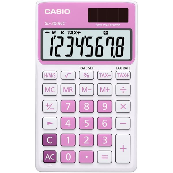 Genuine Casio Portable Calculator SL-300NC-PK Pink 2 Way Power 8Digit