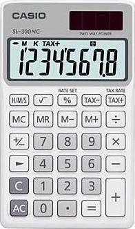 Genuine Casio Portable Calculator SL-300NC-WE White 2 Way Power 8Digit