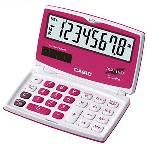 Genuine Casio SL-100NC-RD DualLeaf Portable Type Calculator 2-WayPower