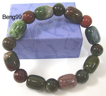 Genuine Heliotrope Bracelet -15mm Barrel and 10mm Round- Life Energy