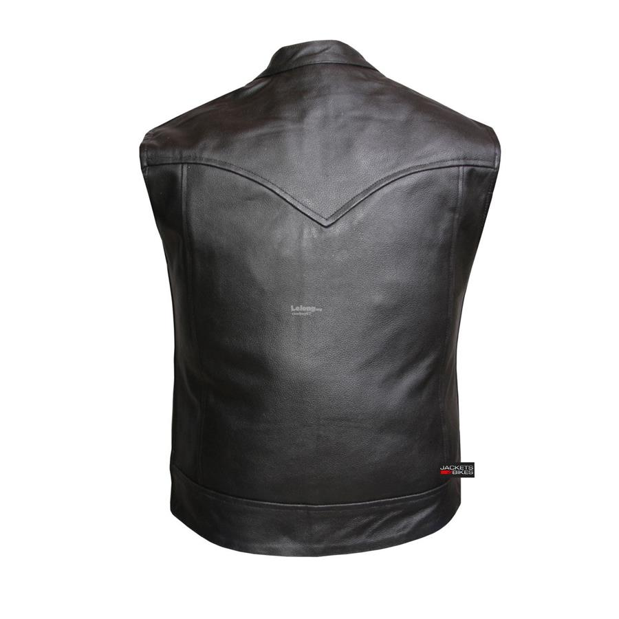 Genuine Leather 6 Pockets Biker Vest M - New