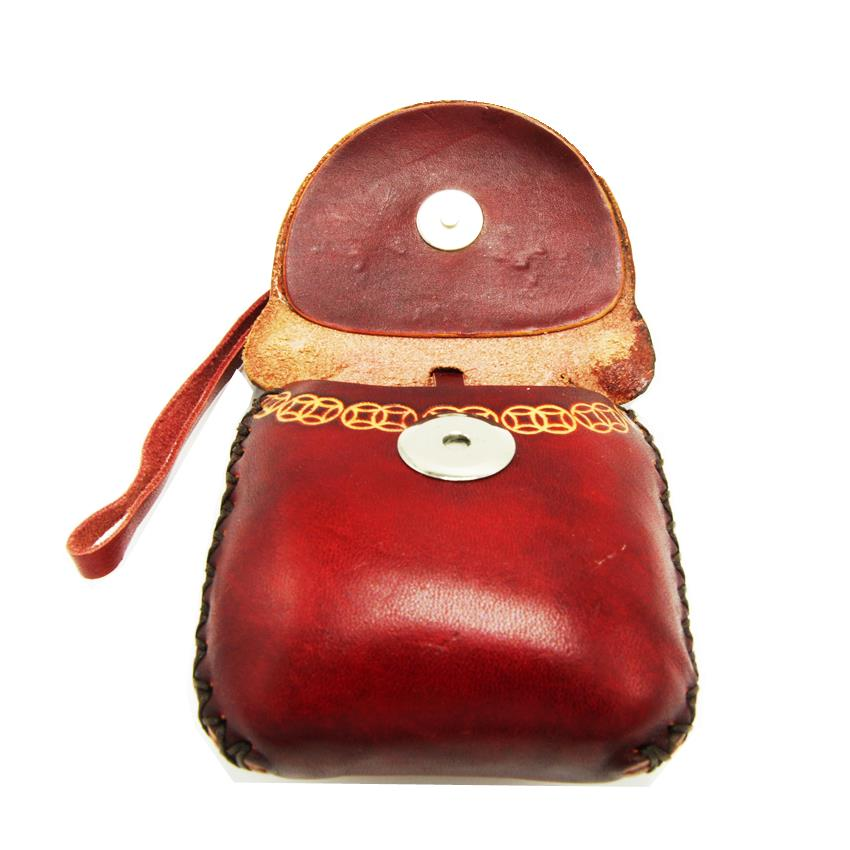 Genuine Leather Coins & Accessories Pouch Wallet NiuPiQi - Brown Puppy