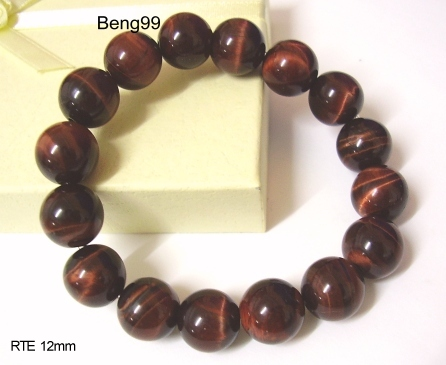 Genuine RED Tiger Eye Bracelet - Bring Wealth & Money to You! - 12mm