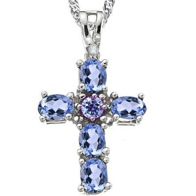 Genuine Tanzanite Platinum 0.925 Sterling Silver Pendant #801pd