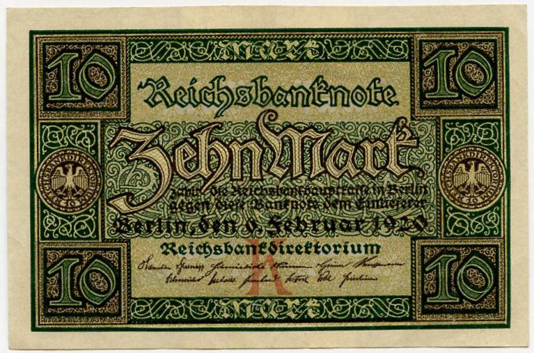 Germany 10 marks 1920 vf-xf