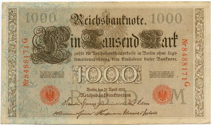 Germany 1000 marks 1910 vf-xf red