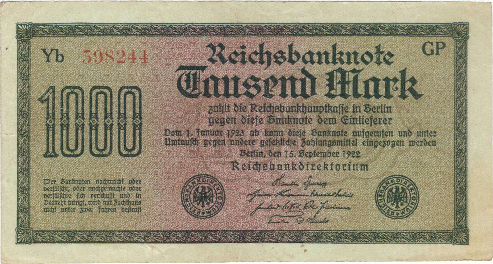 Germany 1000 marks 1922 vf-xf