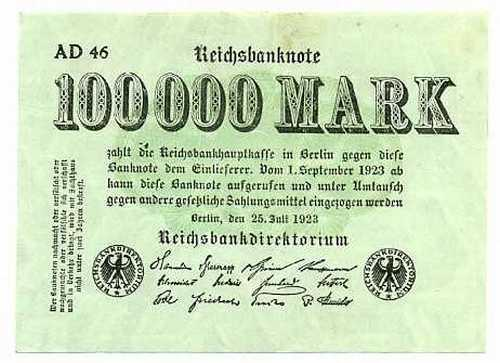 Germany 100000 marks xf 1923