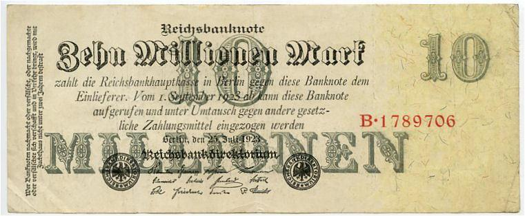 Germany 10000000 marks xf 1923 big