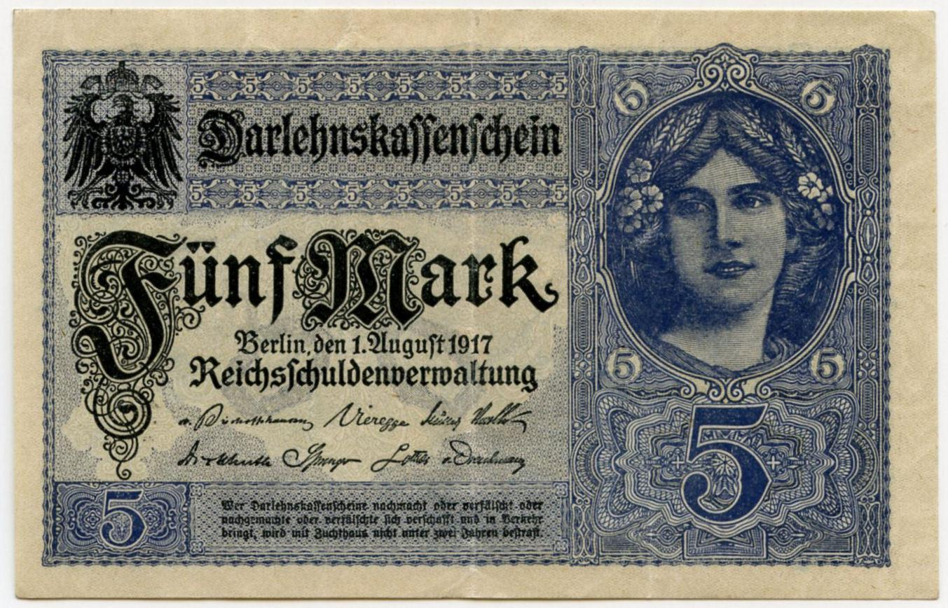 Germany 5 marks 1917 vf-xf
