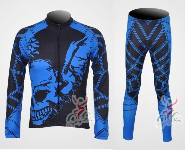 GHOST RIDER BLUE Long Sleeve Cycling Jersey + Pants Bike Bicycle MTB
