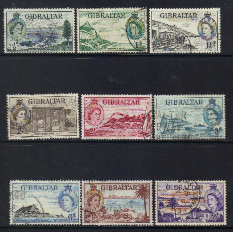 GIBRALTAR QEII 1953 DEFINITIVES USED CAT £17+ BJ257
