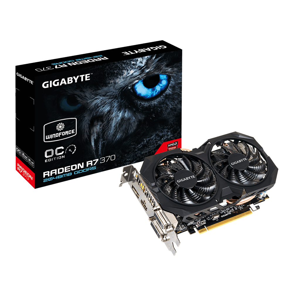 GIGABYTE AMD Radeon R7 370 DirectX 12 Video Card - GV-R737WF2OC-2GD