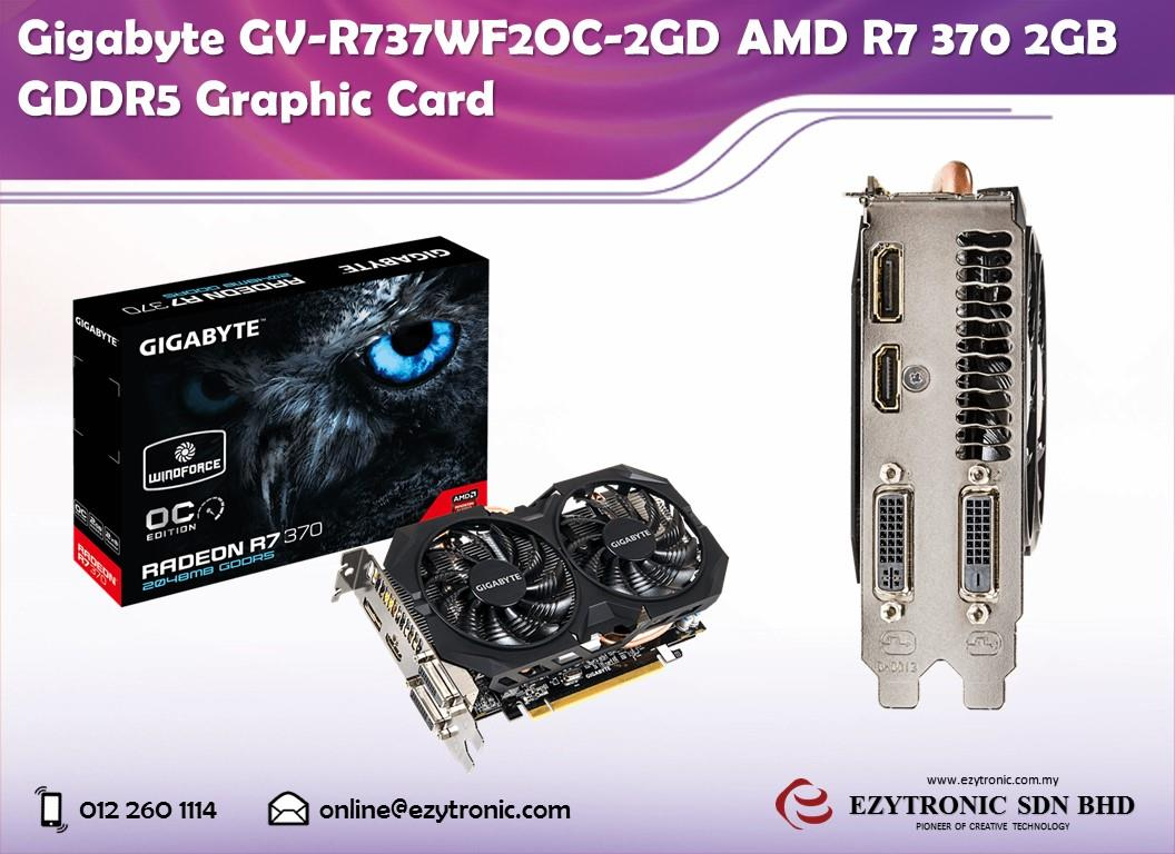 Gigabyte GV-R737WF2OC-2GD AMD R7 370 2GB GDDR5 Graphic Card