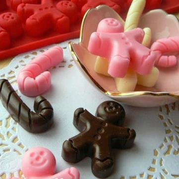 Gingerbread Man and Candy Cane Silicone Chocolate Mould