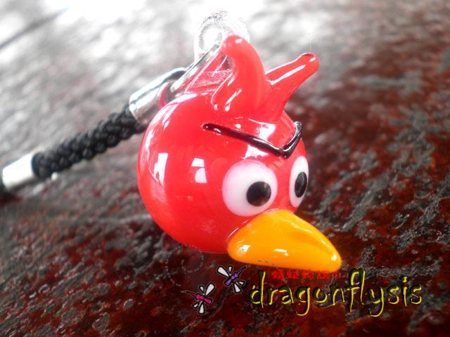 Glass Art Angry Bird Phone Strap [Red]