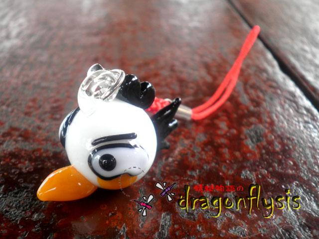 Glass Art Angry Bird Phone Strap [White]