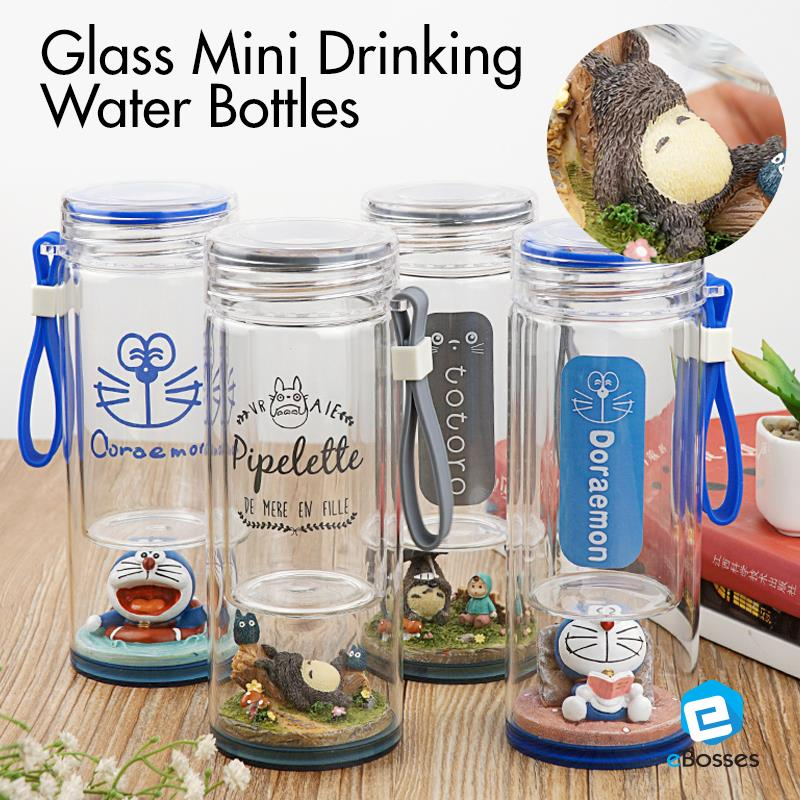 Glass Mini Drinking Water Bottles with Doraemon Totoro 280ml