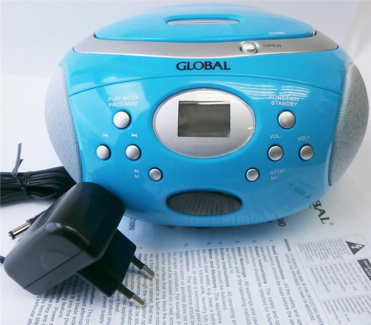 GLOBAL PORTABLE CD RADIO (GRCD 626) LIGHT BLUE COLOUR