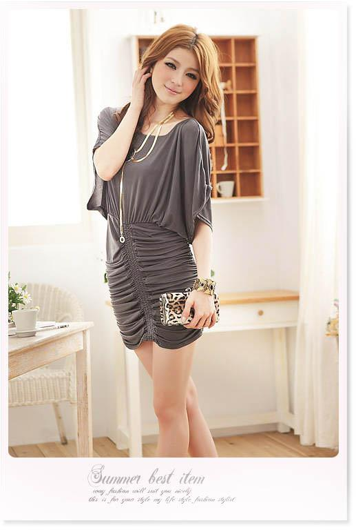 [goFashion] Bat Sleeve Trendy Dress - Grey