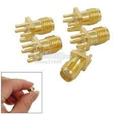 Gold Plated SMA-KE RF Coaxial Connector Male PCB Edge Mount